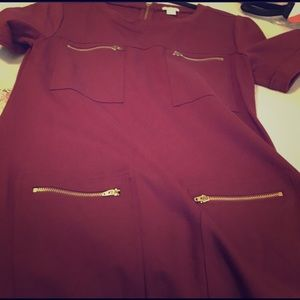 J.Crew beautiful burgundy shift dress